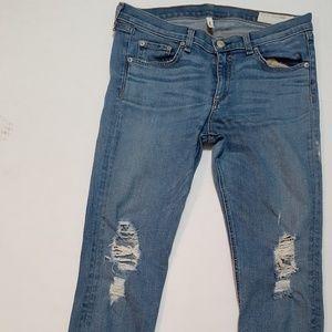 Rag & Bone skinny distressed capri Jean's